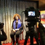 Julie Dash getting ready to be interviewed by Indigo Tongues